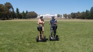 Segwaying in front of Old Parliament House