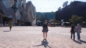 Megan in Federation Square