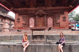 Sitting outside the erotic temple.  Our guide told us that in some point in history Nepal had a problem with not enough population growth, so they started building erotic temples and the problem sorted itself out!