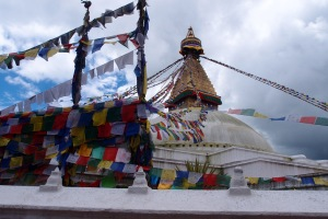 Prayer flags at Boudhanath Stupa