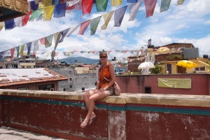 Mum enjoying the breeze at the beautiful Boudhanath Stupa