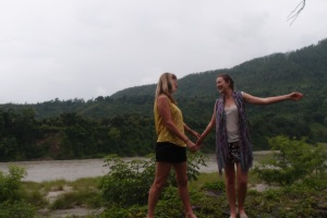 Mum and I dancing on the edge of the Trishuli River