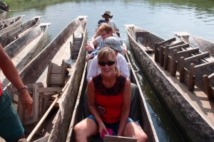 Mum smiling and hoping the crocodiles in the river were well-fed