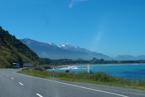 Windy road heading into Kaikoura