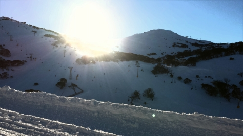 Sun going down after a great last run on Mount P.
