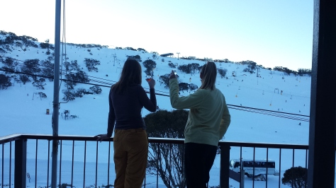 Glass of schnapps on the balcony after a huge day on the mountain