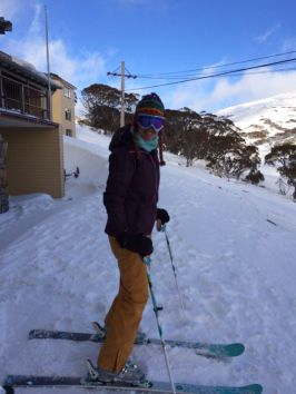 Skis on at the lodge, with the t-bars a short ski away