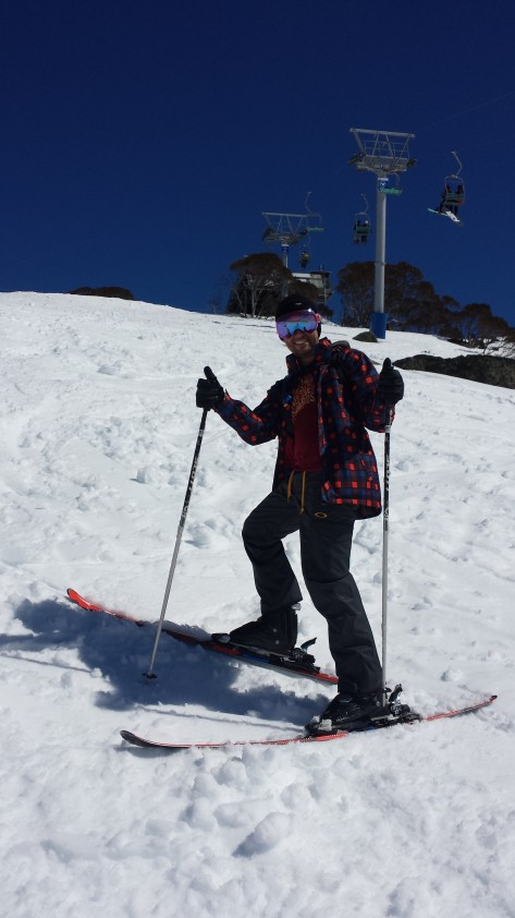 Mark on skis for the first time